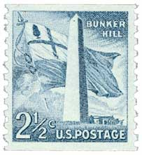 Post image for U.S. #1056 1959 2½ ¢ Bunker Hill Monument Liberty Series Coil